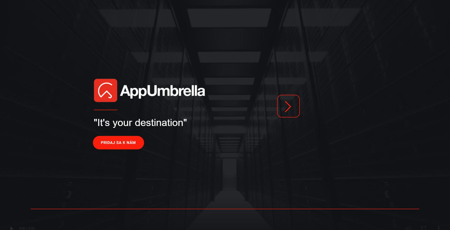 Hlavná stránka spoločnosti AppUmbrella (https://www.appumbrella.online/sk)