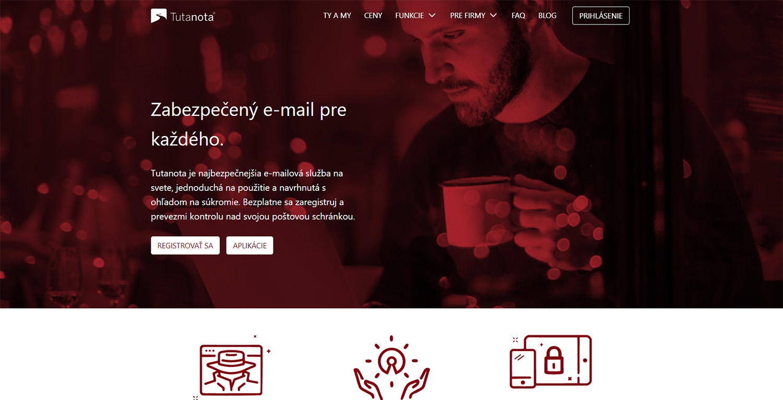 Hlavná stránka služby Tutanota (https://tutanota.com/sk/)